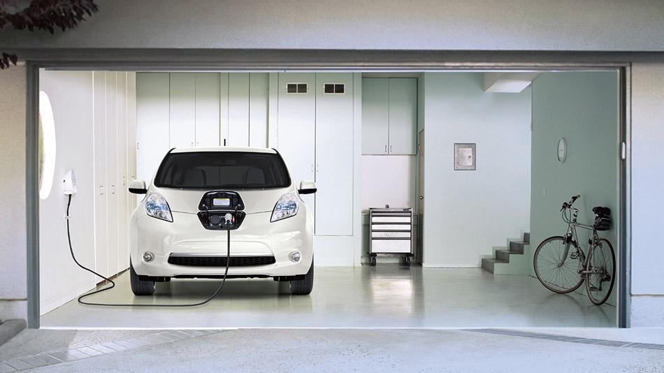 Nissan Leaf Charging In A Garage